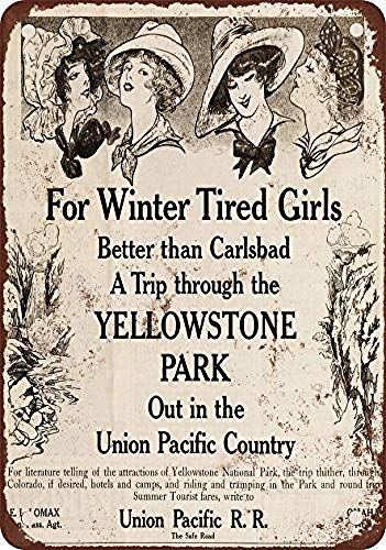 Shimeier Union Pacific Railroad to Yellowstone Park Retro Vintage Tin Sign Coffee House Business Dining Room Pub Beer 20 cm x 30 cm -
