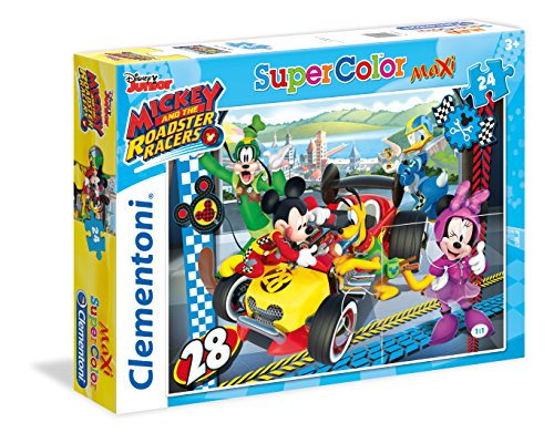 Clementoni- mickey roadster racers supercolor puzzle, multicolore, 24 pezzi, 24481