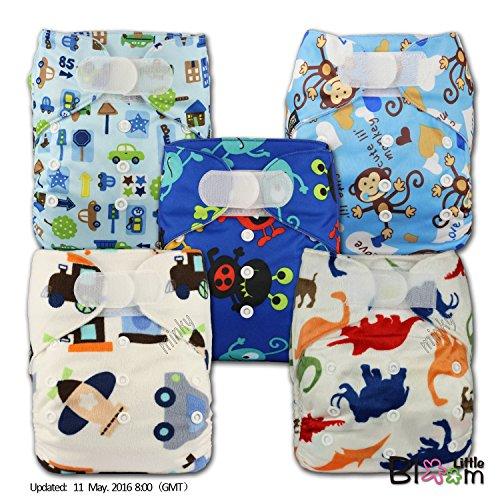 LittleBloom Bébé Tissu Couche Couches Lavables Poches Réutilisable, Fixation: Hook-Loop, Lot De 5