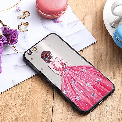 iPhone 6S Spiegel Hülle, Rosa Schleife Weiche TPU Silikon Schutzhülle Handyhülle Backcover Glitzer Mirror Cases mit Schmetterling schönes Mädchen Muster Design für iPhone 6S / 6 Rotes Kleid Rosa Kleid