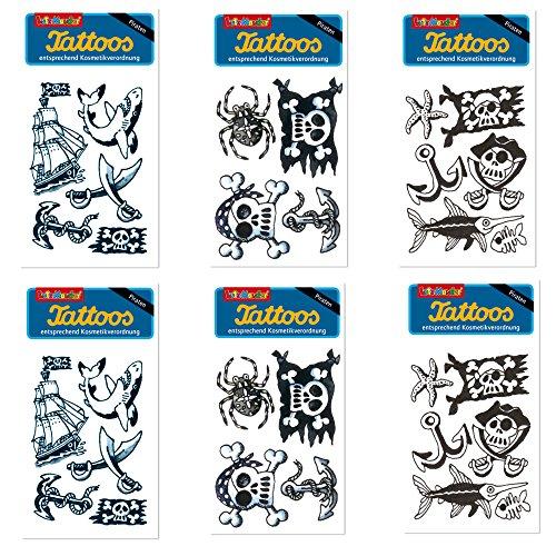 6-teiliges Tattoo-Set * PIRAT * von Lutz Mauder // Kinder Kindertattoo Kindergeburtstag Geburtstag Mitgebsel Geschenk Totenkopf Schiff Anker Schwarz (Piraten Tattoos)