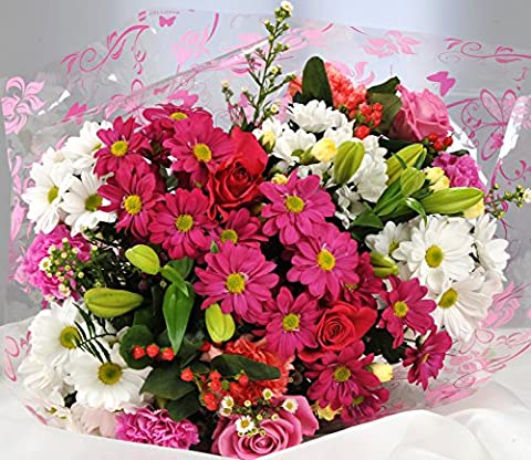 Pink & White Mixed Bouquet - Fresh Flowers Delivered Next Day FREE 7 Days a Week - Send a Beautiful Gift of Real Cut Flowers with Free Premium Tracked UK