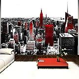 murando – Papier peint intissé – 250x175 cm – Trompe l oeil - Tableaux muraux – Déco – XXL New York rouge gris 10110904-61