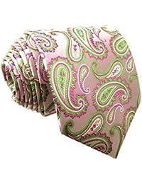 Shlax y ala de hombre corbata rosa verde Paisley boda