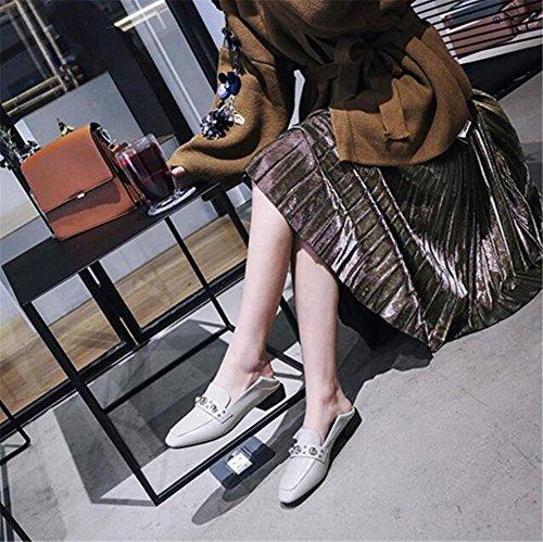 Bianco Appartamento Mocassini Vernice Di 35to41 Cuoio Nero In Bianco Chiuse Dimensioni Delle Scarpe Donne Tacchi xFSw7PTqWW