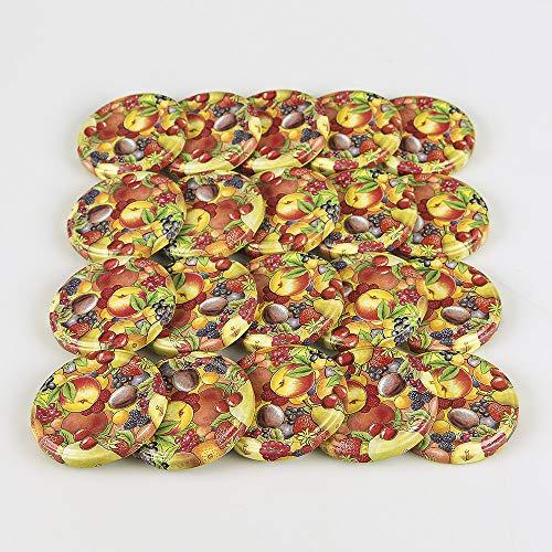 Hartmut Bauer e.K. Ersatzdeckel 20 St. Twist-Off-Deckel 66 mm für Gläser, Obstdekor Deckel für Marmeladengläser, Sturzgläser, Einkochgläser, Konservengläser und Einmachgläser to 66