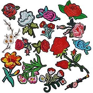 broderie patch thermocollant satkago 15pcs rose fleur ecusson thermocollant ou ecusson coudre. Black Bedroom Furniture Sets. Home Design Ideas