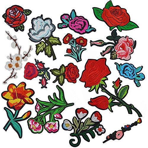 Patches Zum Aufbuegeln, Satkago 15 Stück Blumen Aufnäher Applikation Flicken Zum Aufbügeln Kinder Patches Rosen für DIY Kleidung T-Shirt Jeans Taschen Hut (Stück 2 Blumen-rock)
