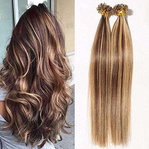 S-noilite® Extensiones de queratina de cabello natural - 55CM - 50 MECHAS (1g/mecha) - Pre bonded Nail Tip U-tip Remy Hair Extensions - #4/27 Medio marrón / Rubio oscuro