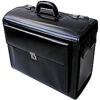 Tassia Black Bonded Leather Large Pilot Case - Twin Gun Metal Combination Lock
