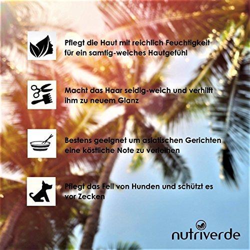 Nutriverde BIO Kokosöl - 1 x 1.000 mL (1L) Neu im Bügelglas - KOCHEN, BRATEN, BACKEN + HAAR- & HAUTPFLEGE bio, nativ, kaltgepresst - 3