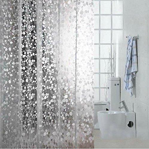 eforcurtain Cobblestone 3D EVA wasserdicht Duschvorhang Liner 18Gauge unschädliches mit Metallösen Badezimmer Stall und nicht mehr midew antibakteriell, plastik, farblos, 72Wx78L