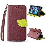 CaseHome Compatible for Nokia Lumia N730 Custodia in Pelle PU Progettare Stand Caratteristica Protettivo Pelle Portafoglio Astuccio Conchiglia Case for Nokia Lumia N730-Marrone