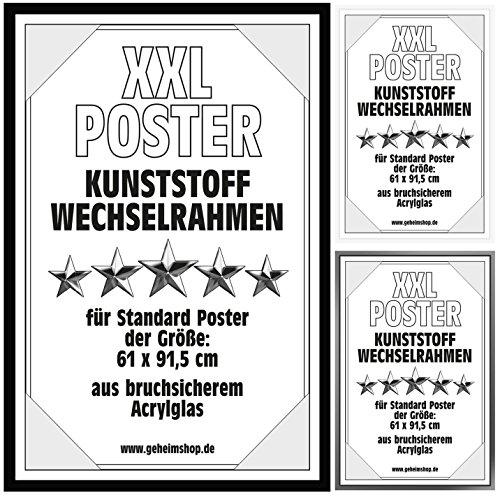 Posterrahmen Wechselrahmen Bilderrahmen Kunststoff Wechsel-Rahmen für Maxi Poster & Plakate 61x91,5cm Schwarz