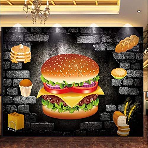 Design TapeteBenutzerdefinierte Jede Größe Wandbild Tapete 3D Stereo Backstein Hamburg Bäckerei Fast Food Restaurant Hintergrund Wanddekor Tapeten Für Wand 3D Foto 1 ㎡ (1 Quadratmeter)