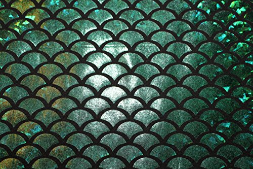 Hologramm-stoffe (ASVP Shop Mermaid Maßstab Stoff Fisch Schwanz Material mit Stretch Spandex Lycra–145cm breit Grün / Schwarz)