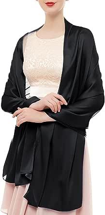 Bridesmay Donna Elegante Seta Sciarpe Morbido Collo Solido Avvolge Scialli