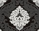 A.S. Création Vliestapete mit starkem Glitterauftrag Bling Bling Tapete neo barock 10,05 m x 0,53 m schwarz weiß Made in Germany 313959 3139-59