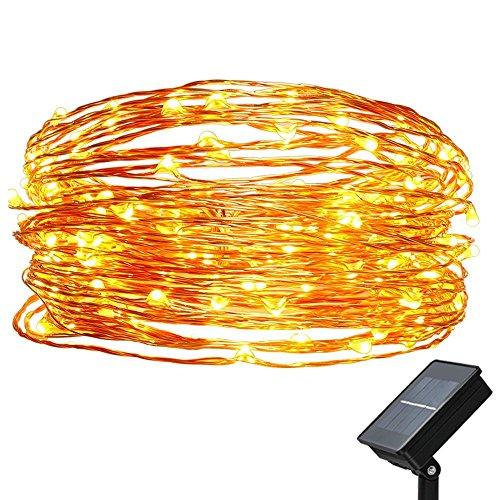 easyDecor Solar Lichterkette, Kupferdraht Lichterkette Wasserdicht 33ft(10m) 100 LED Solar Beleuchtung lichter Weihnachten für Garten Außen Drinnen Partei Helloween Festliche Dekoration (Warmweiß)