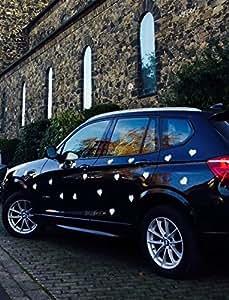 Smagtron Magnettechnik Lot de 20 coeurs magnétiques décoratifs Blanc mat 70 x 75 x 0,8 mm pour voiture de mariage