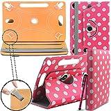 Samsung Galaxy Tab 3 Lite 7.0 3G Neues Design Universelle um 360 Grad drehbare PU-Leder Designer bunte Hülle mit Standfunktion - Cover - Tasche - Rosa Polka / Pink Polka Dot - Von Gadget Giant®