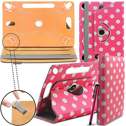 Lenovo Tab 2 A7-30 Neues Design Universelle um 360 Grad drehbare PU-Leder Designer bunte Hülle mit Standfunktion - Cover - Tasche - Rosa Polka / Pink Polka Dot - Von Gadget Giant®