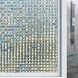 XLORDX Fensterfolie 3D Dekofolie Sichtschutzfolie Statisch Selbsthaftend Ohne Kleber Wiederverwendbar Privatsphäre Kleines Mosaik Spektralfarbe Anti-UV für Wohnung Büro Küche Badezimmer 90cm x 200cm