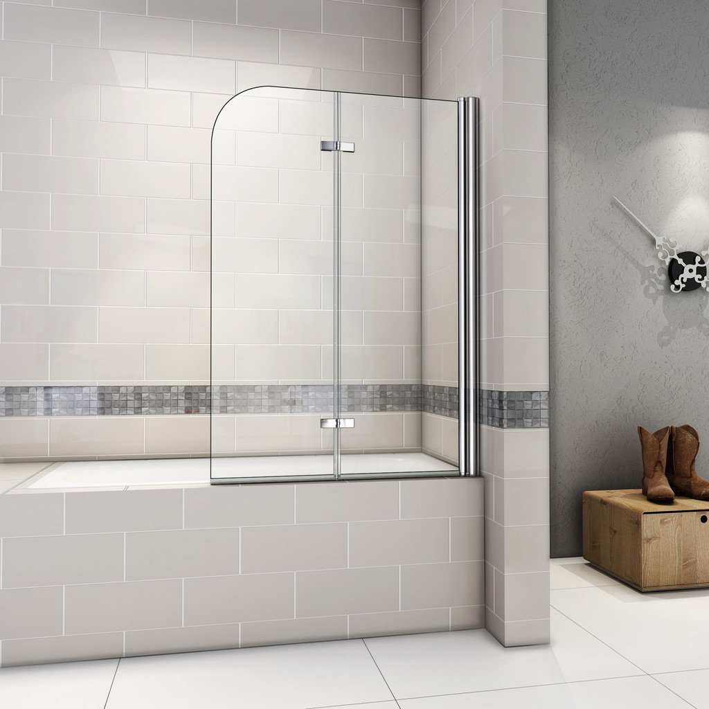 1000x1400mm 180 Degree Fold Pivot Bath Screen With Hinge And 6mm Tempered Easyclean Glass NEXT WORKING DAY DELIVERY Amazoncouk Kitchen Home