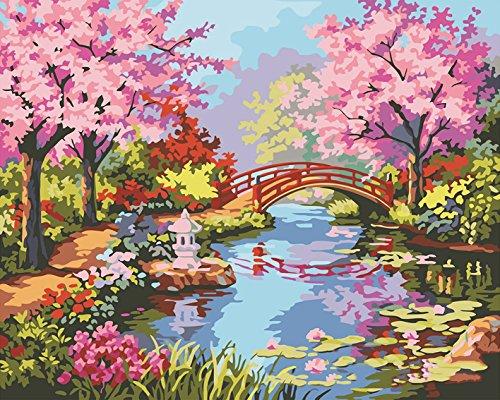 Home-cherry-kollektion (LIUDAO 40,6x 50,8cm rahmenlose DIY Malen Nach Zahlen Kits Home Decor Pfau und Blumen Frameless Cherry Blossoms)