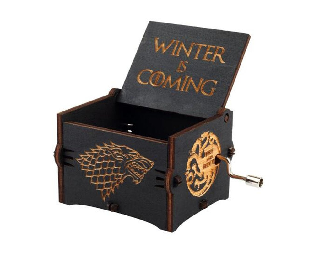 Cuzit Game of Thrones Movie Theme Music Box Wooden Engraved Hand Crank Musical Toy Winter is coming Tune Great Gift For GOT Fans Husband Friend Dad Father Man-Black 1