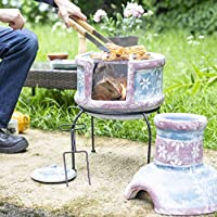 Oxford Barbecues Pershore Clay Chiminea With BBQ Grill