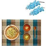 Bamboo Table Mats/Place Mats/Dinning Mats/Kitchen Place Mats/Dinner Mats, 30x40cm, 6 Piece Set(BM1X6456 B4-Blue)