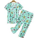 Chongmu Womens 2pcs Pyjamas Set Plus Size Printed Nightwear Cotton Sleepwear Pajamas Sets with Pants