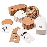 200 piezas Etiquetas regalo etiquetas papel kraft de regalo de bricolaje,Etiquetas de Kraft,cuerda de cáñamo de 30m, utilizad
