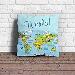 Cushion Cover | World Map Printed Green Cushion Cover with Filler pillow for kids - 100yellow