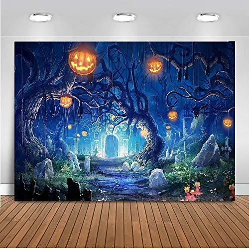 Mehofoto Halloween Hintergrund 7x5ft Horror Wald Kürbis Laterne Friedhof Foto Kulissen Nahtlose Fotografie Hintergrund