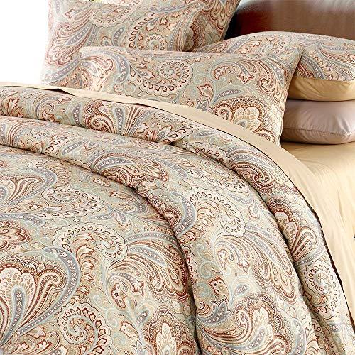 Seepong Luxus-Paisley-Bettwäsche-Set 800 Fadenzahl 100% Baumwolle 3-teilig Bettbezug-Set Khaki-Bettbezug(1 Bettbezug 200x200cm 2 Kissenbezüge 50x75cm)