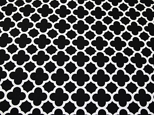 Minerva Crafts Lattice Geometrische Print Baumwolle Canvas Stoff schwarz & weiß - Meterware -