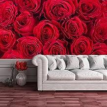 Rosas Rojas Flores decorativo floral romántico casero mural de fotos papel pintado disponible en 8 tamaños Pequeño Digital