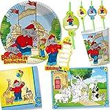 108Juego de * Benjamin Blümchen * Fiesta de cumpleaños para niños con plato + taza + Pajitas + Servilletas + invitaciones + mesa Sets + serpentinas + Globos, etc//elefante tröröö