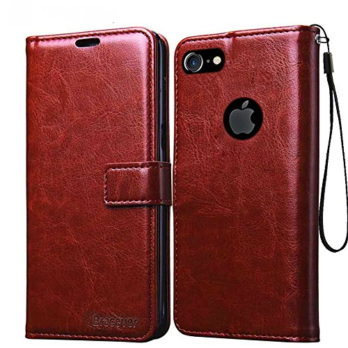 Bracevor Apple iPhone 7 4.7 inch Premium Leather Case Flip Cover   Foldable Stand   Wallet Card Slots - Executive Brown