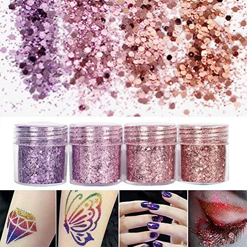 Yibenwanligod 4 Boxen Ultra Thin Nail Glitter Sequins Powder DIY Loose Pigment Phone Decor-Purple Pink