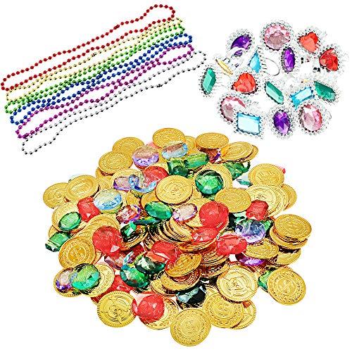 BAKHK 300 Stück Piratenschatz Spielzeug, 144 Stück Goldmünzen 120 Stück Piraten Schmucksteine und Ringe Halsketten Kinder für Pirate Kindergeburtstag Piratenkiste Piratenparty Partyzubehör Schatzsuche