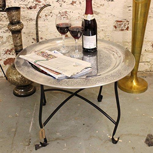maravi 60cm rond Plateau table côté Marocaine aluminium floral estampillé design
