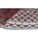50 cm Stoff und spitze rashel zweifarbig schwarz und rot