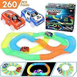 Magic Tracks SUNYJOY, Circuito Coches Juguete Niño, Twister Tracks Neon Glow, Flexible Coches Juguete Piezas de La Pista 260 Piezas 1 pegatinas 1 destornillador 2 Coches (1 carro de policía y 1 coche)
