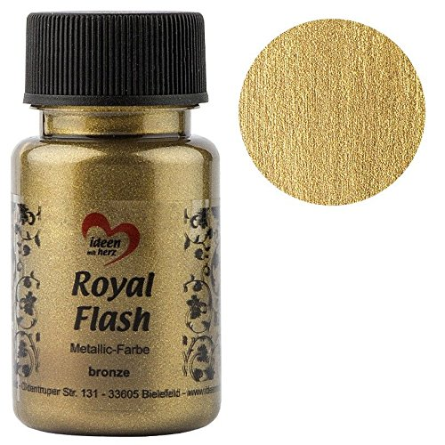 Royal Flash, Acryl-Farbe, metallic, mit feinsten Glitzerpartikeln, 50 ml (bronze/gold)