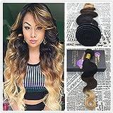 Moresoo - Extension a onda di capelli veri, capelli naturali brasiliani, ciocche da 100grammi, colore nero