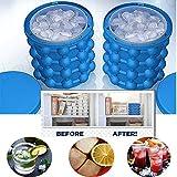 2 in1 Funktion Silikon Eiswürfelform mit Eisbehälter,Eiswürfelbereiter und Eiswürfel GefäßKühler für Wein ,Eiswürfel Aufbewahrung als Bar Kühler, 1 Stück Pack (Blau)