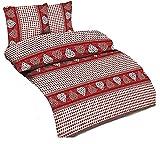 Dresscode 4tlg Bettwäsche Garnitur in Mikrofaser Bettbezug 135x200 Kissenbezug 80x80 Bordeaux Landhaus Bauernkaro ROT